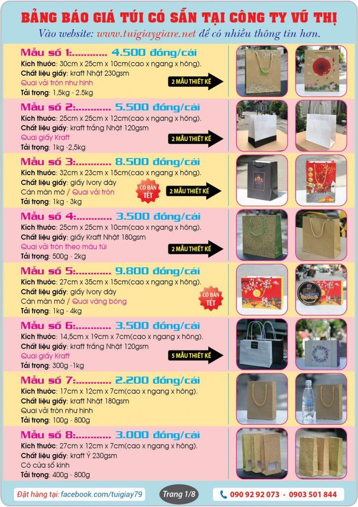 Bảng báo giá Túi giấy giá rẻ