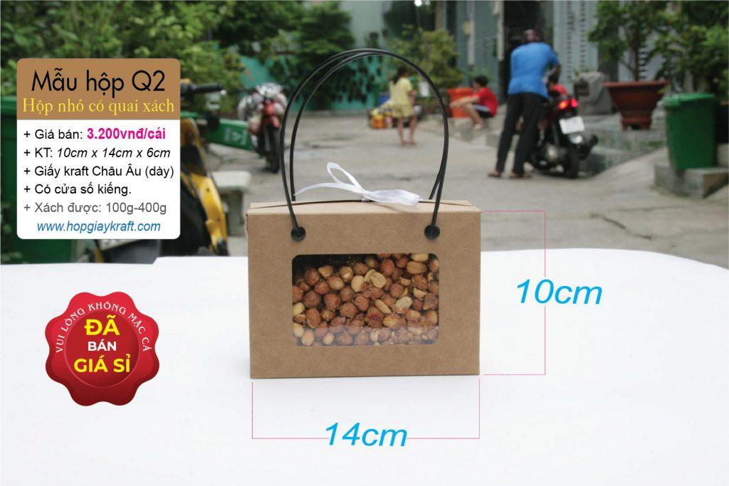 Hộp giấy kraft nhỏ đựng thực phẩm, trái cây - Có quai xách
