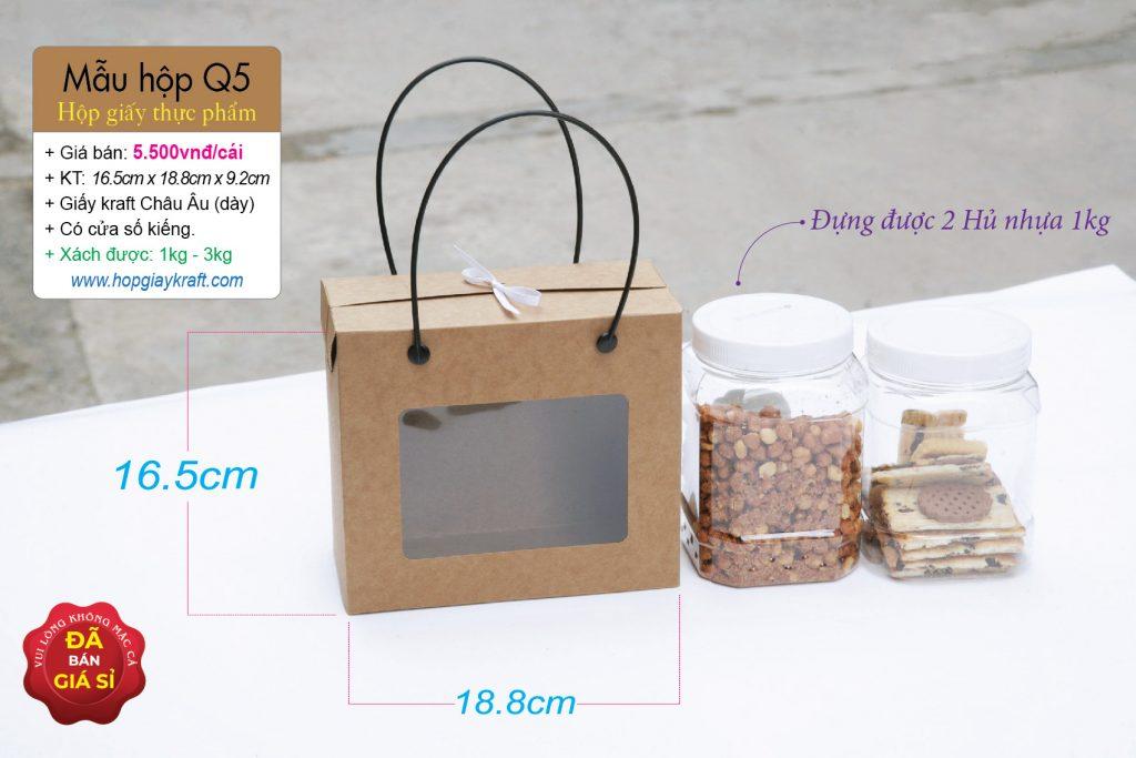Hộp đựng được 2 hủ nhựa 800ml hoặc 1kg