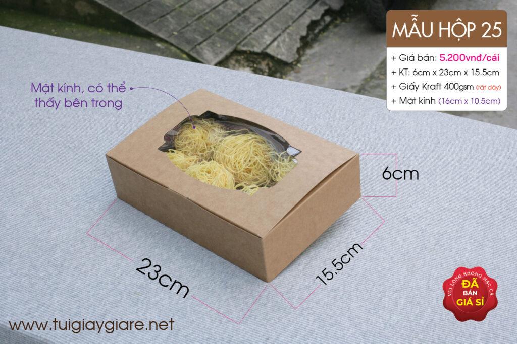 Hộp giấy kraft nắp ngang có mặt kính đựng thực phẩm khô, nông sản sạch, tôm khô, cá khô
